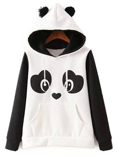 Casual Cute Panda Front Pocket Hooded Women Hoodies