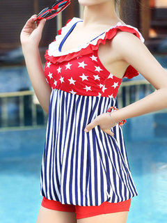 Breathable Stripe One Piece Sleeveless Swimdresses