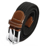 Men 107cm Braided Elastic Stretch Woven Belt with Leather Tip Nickle Pin Buckle