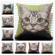 Cute Cats Throw Pillow Case Peinture à la main Coussin d'animal Coussin