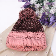 Women Mix Two Color Knit Hat Fluff Ball Wool Cap