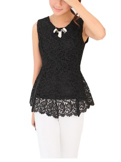Candy Sleeveless Embroidery Chiffon Lace Tunic Women Tank Tops