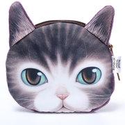 Porte-monnaie motif chien chat mignon 3D avec fermeture éclair pour femme